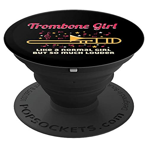 Funny Trombone Girl Player Gift Accessories Stuff Women Girl PopSockets Grip and Stand for Phones and Tablets