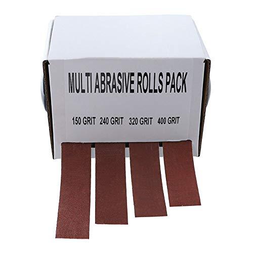 Xuqiang 4pcs 25mmx6m Cinturón de lijado Rollo Dibujable Tela de esmeril Papel Sandfaper Cinturones de molienda Papel de arena suave Rollo para Turners de madera Herramientas manuales de carpintería de