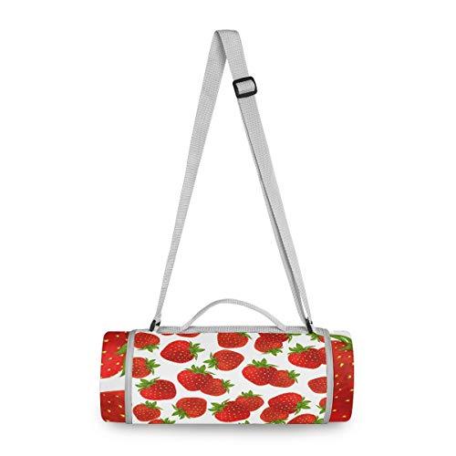 BEUSS Rote Erdbeere Picknickdecke wasserdicht Kreative Runde Picknick-Matte Kampierende Strand Yoga Decken Matten im Freien Faltbar Leicht Matte Decke mit Tragegriff(148cm x 148cm)