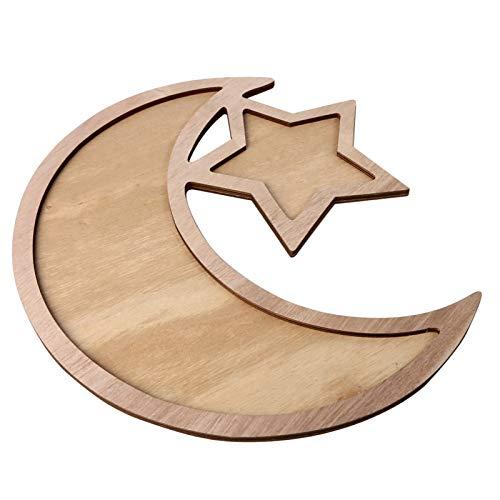 ZqiroLt Holz Teller Mond Und Stern Muster Ramadan Kulbang Tischdekoration DIY Party Gebäck Tablett 3