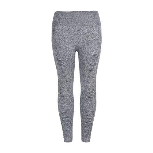 Naadloze yogabroek Europese en Amerikaanse legging Heupen Vochtafvoerende zweetbroek Fitness gebreide panty (M grijs)