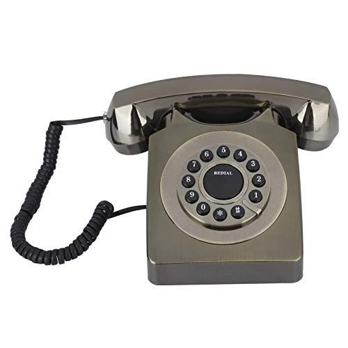 LDDZB Teléfono Vintage, Teléfono con Cable Retro Inicio Europeo, Llamada de Alta definición Gran Botón Clear Teléfono Fijo Antiguo (Rojo) (Color : Bronze)