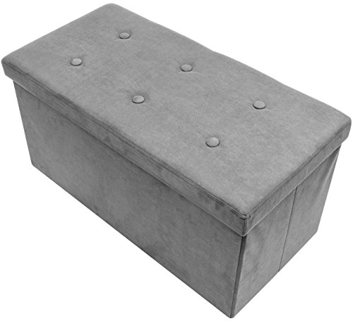 Sorbus Storage Ottoman Bench – Collapsible/Folding Bench Chest with Cover – Perfect Toy and Shoe Chest, Hope Chest, Pouffe Ottoman, Seat, Foot Rest, – Contemporary Faux Suede (Medium-Bench, Gray)