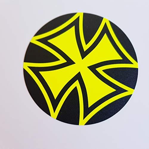 Pegatinas centrales de hierro, cruz de hierro, cruz, redonda, amarillo neón, negro, adhesivo para coche, JDM Tuning, OEM Dub Decal, pegatinas, bombing, pegatinas, Illest Dapper, Fun Oldschool