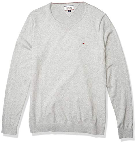 Tommy Hilfiger Denim Men's Original Crew Neck Long Sleeve Sweater, Light Grey Heather, X-Large
