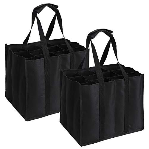 Tebery 2Stück 12er Bottle-Bag, Flaschentasche für 24 x 1,5 Liter Flaschen, Tragetasche mit Trennwände, 26 x 27 x32.5 cm, schwarz