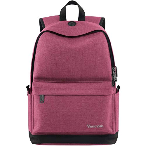 Vancropak Student Backpack for Women, College High School Laptop Backpack with Charger for Men Girls Boys, Water Resistant Canvas Bookbag Weekend Bag Fits 15.6 Inch MacBook Tablet and Books (Pink)