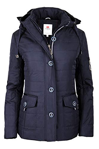 Grimada 7S69 dames jas gewatteerde jas overgangsjas met capuchon gewatteerde marine blauw