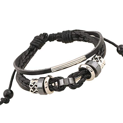 Armband set, sieraden armband, PU armband gebreide armband meerlagige klassieke verstelbare PU riem mooie kralen gemaakt van string legering gebreide armband sieraden geschenk BRON