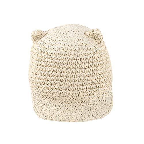 TENDYCOCO 1 Unid Crochet Tejer Oreja de Gato Gorra de Pico Creativa Sombrero de Paja Sombrero de Protección Solar para Bebés Niños