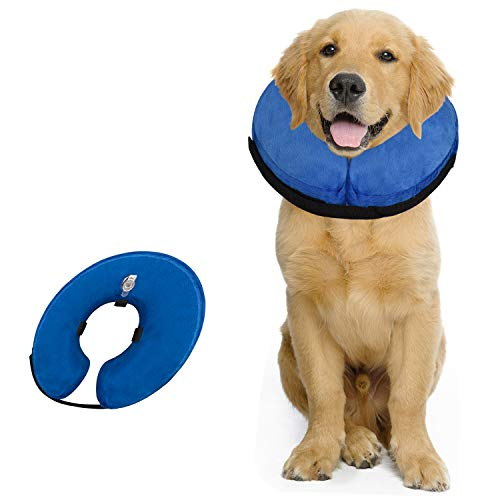 GAUTERF Pet Protective Inflatable Collars, Dog Inflatable Neck Cone, Cat Donut Collar, Prevent Cat and Dog from Contacting Sutures, Stitches, Wounds, Rashes and Scratches