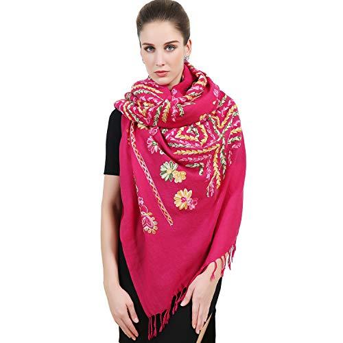 DANA XU Large Size Women Winter Pashmina Shawls and Wraps Cashmere (Rose Red)