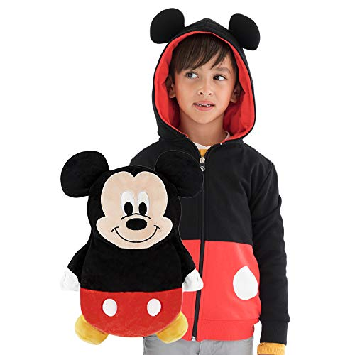 Cubcoats Mickey Mouse 2 in 1 Transforming Sweatshirt & Soft Plushie, Red & Black
