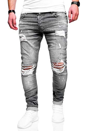 behype. Herren Destroyed Stretch Jeans-Hose Used Slim-Fit 80-2369 Grau W32/L32