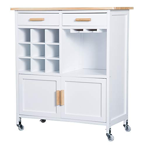HOMCOM Rolling Kitchen Cart Sideboard Island Portable Serving Utility...