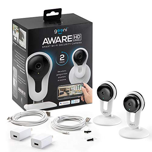 Geeni Aware 1080p Indoor Smart Home Security Camera with 2-Way Talk, Night Vision and Motion Alerts, Works with Alexa and Google Home, No Hub Required, White (2 Pack)