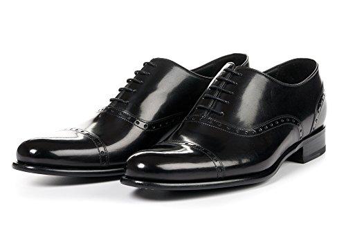 Men's Brando Semi-Brogue Oxford Dress Shoe, Italian Calfskin Leather (Nero)