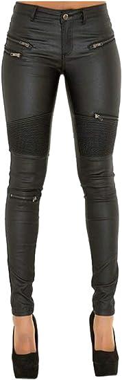 Fubotevic Pantalon De Piel Sintetica Para Mujer Plisado Moto Moto Ciclista Con Cierre Amazon Com Mx Ropa Zapatos Y Accesorios
