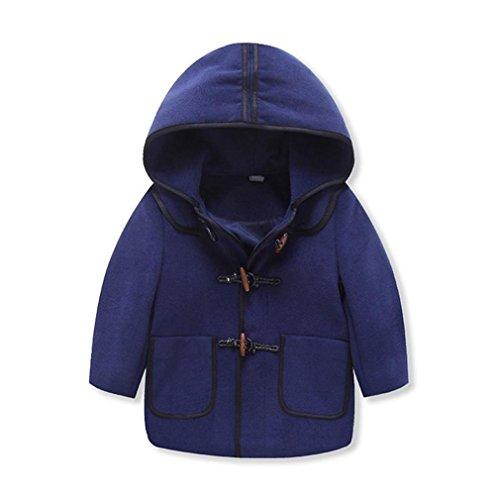 Hey~Yo Baby Kinder Jungen Wintermantel mit Kapuze Steppjacke Winter Herbst Hooded Oberbekleidung Warm Fleece Duffle Mantel (3-4Jahre, Blau)