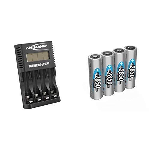 ANSMANN Akku-Ladegerät für 4X AA & AAA NiMH Akkus - Powerline 4 Light & Akku AA Typ 2850mAh NiMH 1,2V - Mignon AA Batterien wiederaufladbar, mit hoher Kapazität, Taschenlampe (4 Stück)