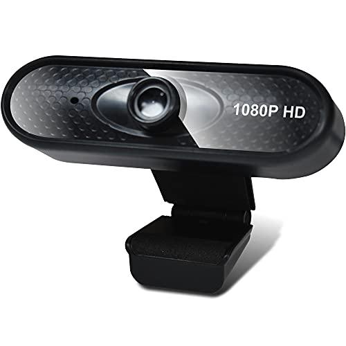 Cámara web de alta definición Full HD con micrófono para Windows Mac iOS, PC de escritorio portátil 1080P FHD Plug and Play USB Cámara web para videoconferencias Zoom Skype WebEx Teams 2MP Negro