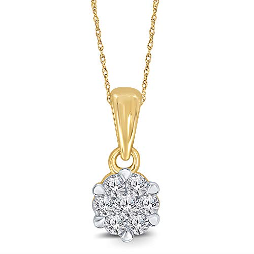 Elmas 1/10ct Round White Natural Diamond 10K Yellow Gold 7 Stone Minimalist Diamond Flower Pendant Necklace for Teens Womens