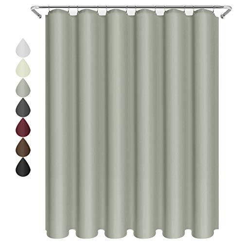 eforgift Elegantes Tuch Stoff Duschvorhang wasserabweisend Schimmelresistent Langlebig 100prozent Polyester Vorhang für Badezimmer Home mit rostfreien Metallösen, Polyester-Mischgewebe, Silbergrau, 72Wx75L