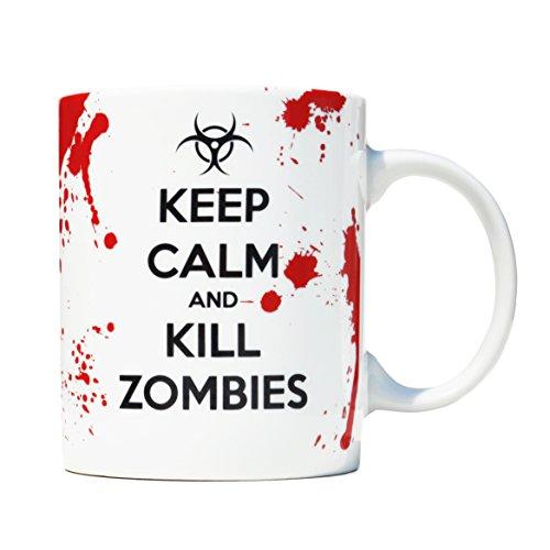 Taza mug desayuno de porcelana blanca 30 cl. Modelo Keep Calm and Kill Zombies