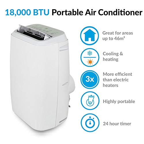 electriQ 18000 BTU Portable Air Conditioning Unit Mobile Air Conditioner and Heat Pump 1.7 kW – White