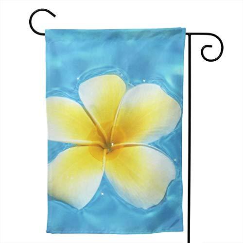 Xiaofz Aquamarine Blue Lagoon and Hawaiian Yellow Plumeria Flower Garden Flag Double Sided Premium Fabric Outdoor House Yard Decorative Flag