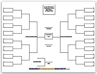 Zieglerworld Outdoor 32 Player Reusable Erasable Blind Draw Single Elimination Tournament Bracket Chart Board