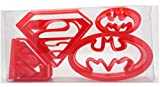 Super Hero Set von 4 Superman/Batman Logo geformte Kekse, Gebäck, Cookie Cutter, Fondant Cutter in Geschenkbox