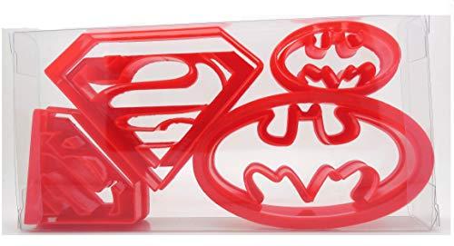 Super Hero Ausstechformen-Set mit 4Superman-/Batman-Logos, für Gebäck und Cookies, in Geschenkbox
