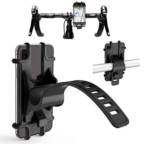 CTXTKER Bike Phone Mount, Universal Adjustable Handlebar Mobile Phone Seat Suitable for Mountain Bike/Motorcycle/Stroller/Shopping Cart/Treadmill/Electric Bicycle, Supports 4.5-6 Inch Smartphone Use