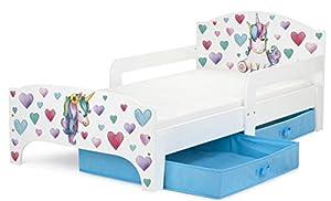 immagine di Leomark Smart letto per bambini in legno, lettino con cassetto cassettone e materasso 140x70cm, magnifiche stampe, mobili per bambini, attrezzatura stanza per bambino, tema: UNICORNO