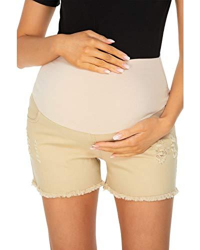 Love2Mi Schwangerschafts Jeansshorts Umstandsshorts mit Elastische Bauchband Sommer Umstandshose,Khaki,M