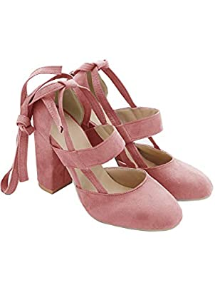 PRETTODAY Women's Thick High Heel Shoes Straps Pumps Pink