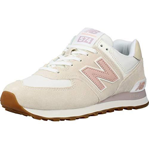 New Balance 574 Nr2 Sneaker Donna Bianco Rosa, 39, Blanco