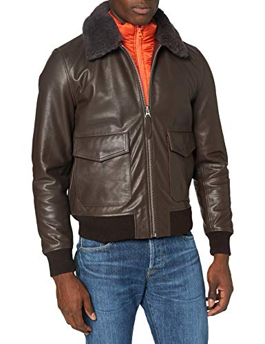 Schott nyc LCUNITED Leather Jacket, Brown, Small Mens