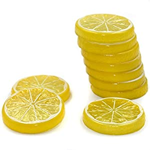 Hagao Fake Lemon Slice Artificial Fruit Highly Simulation Lifelike Model for Home Party Decoration Yellow 10 pcs