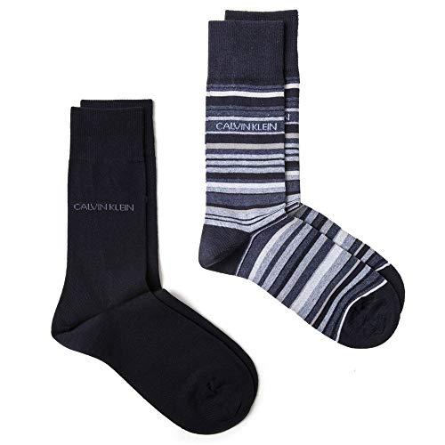 Calvin Klein Herren Twin Pack Casual Socks Socken Blau Lrg