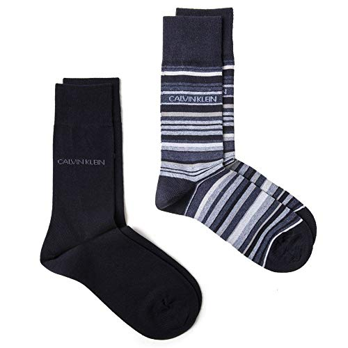 Calvin Klein Twin Pack Hombre Calcetines Navy Med