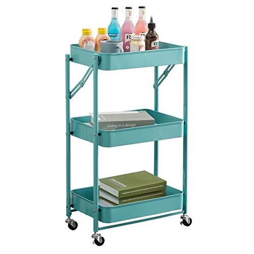 YCSD Carro De Almacenamiento Plegable,Carrito De Cocina con Ruedas,3 Niveles,Organizador De Almacenamiento De Metal Carro Móvil para La Belleza(Color:Azul)