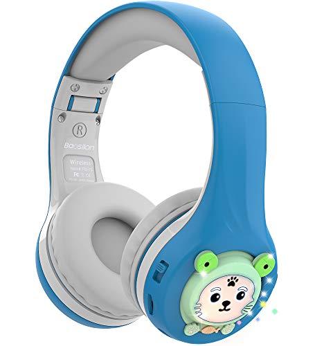 Riwbox Baosilon FB-7S Auriculares para niños Bluetooth, LED con luz Auriculares plegables Bluetooth para colocar sobre el oído Volumen limitado Seguro 75/85/95dB con micrófono y tarjeta TF (Blue&Grey)