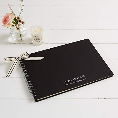 Angel & Dove - Libro de memoria (tamaño A4, con cinta, para funeral, recuerdo, condolencia, celebración de la vida), color negro
