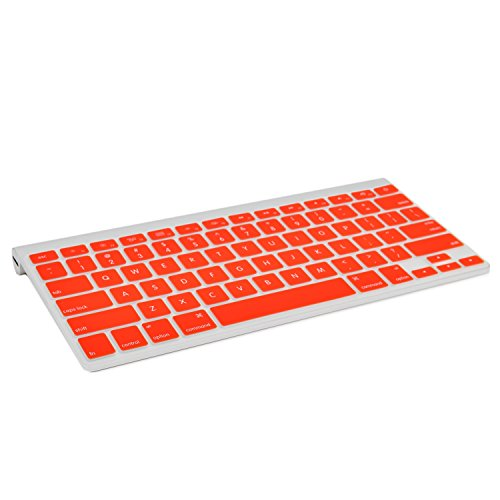 TOP CASE Silicone Cover Skin Compatible with Apple Wireless Keyboard with TOP CASE Mouse Pad (Apple Wireless Keyboard, RED)