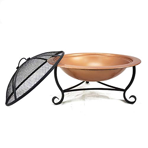 Fire Pit Outdoor Wood Burning, Round Fire Pit Grill with Mesh Screen, BBQ Grill Firepit Bowl, for Family Garden Camping Picnic