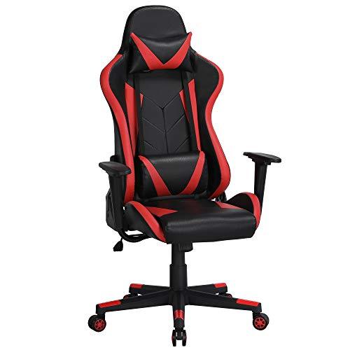 Yaheetech Gaming Stuhl, Bürostuhl Schreibtischstuhl Kunstleder Gamer Stuhl, Sportsitz Höhenverstellbare, Chefsessel stufenlos verstellbare Rückenlehne Einteiliger Stahlrahmen Rot
