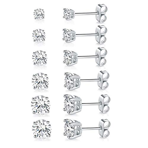 18K White Gold Plated 4 Pong Round Clear Cubic Zirconia Stud Earring Pack of 6 Pairs 6 Pairs