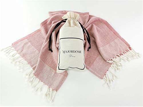 Majordôme - Toalla de playa con bolsa de regalo (algodón suave, textura de panal de abeja gofrado, tamaño XL, 100 x 180 cm), color rojo